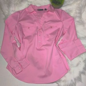7th Ave NY&C Pink Button Down Long Sleeve Top